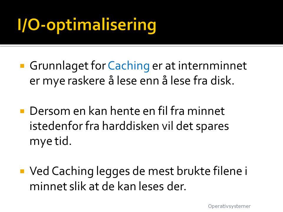 I/O-optimalisering Grunnlaget for Caching er at internminnet er mye raskere å lese enn å lese fra disk.