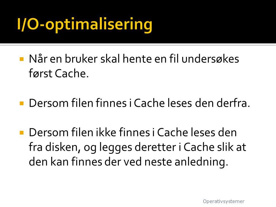 I/O-optimalisering Når en bruker skal hente en fil undersøkes først Cache. Dersom filen finnes i Cache leses den derfra.