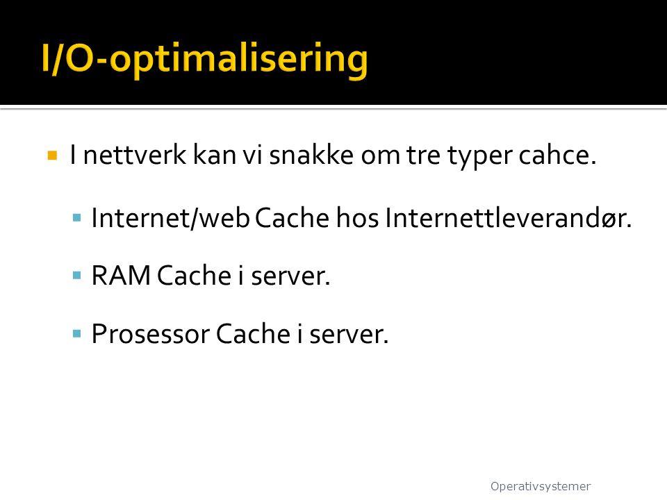 I/O-optimalisering I nettverk kan vi snakke om tre typer cahce.