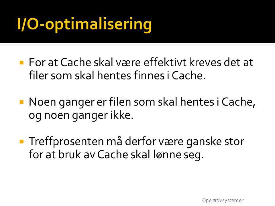 I/O-optimalisering For at Cache skal være effektivt kreves det at filer som skal hentes finnes i Cache.