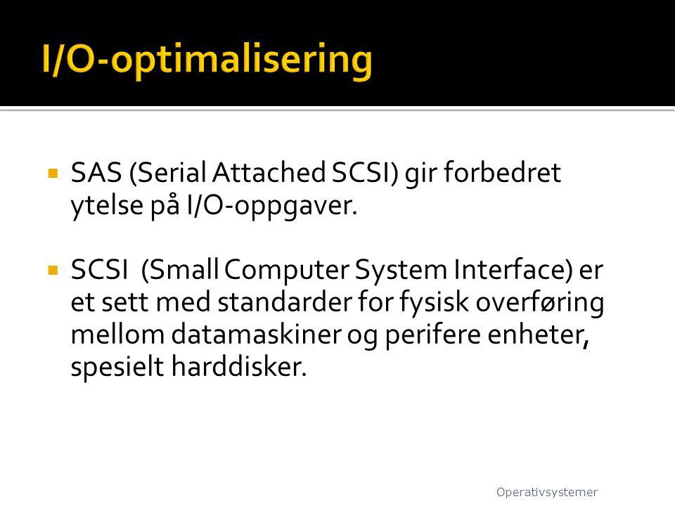 I/O-optimalisering SAS (Serial Attached SCSI) gir forbedret ytelse på I/O-oppgaver.