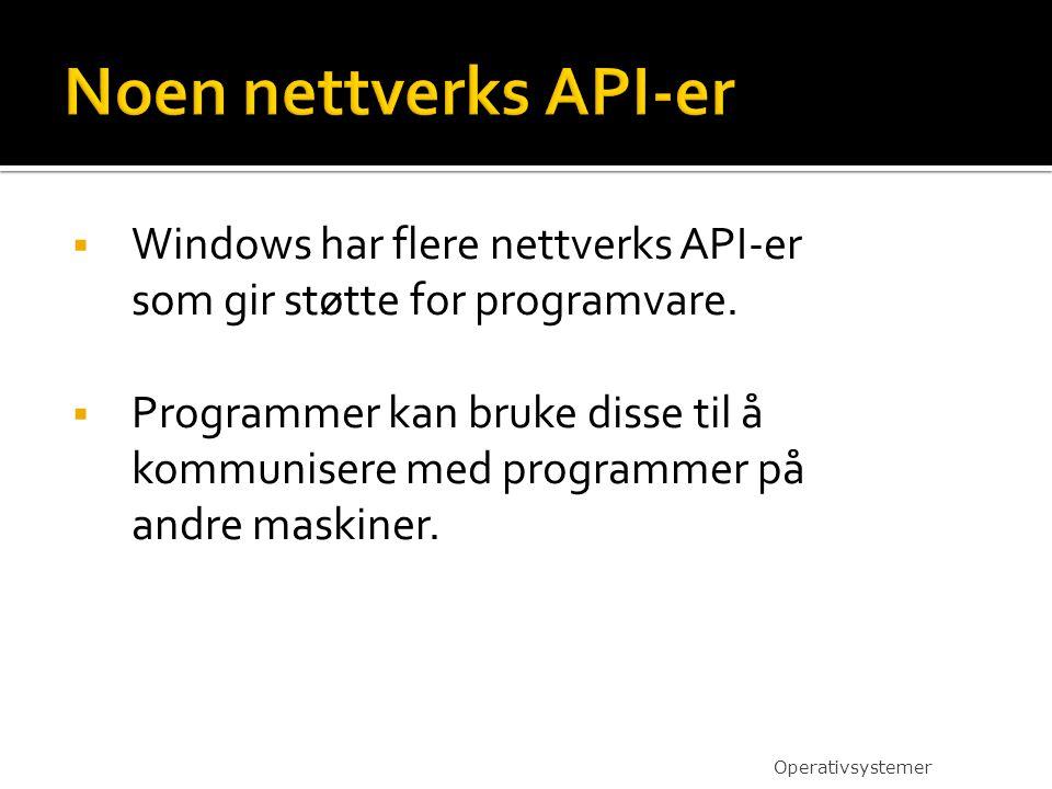 Noen nettverks API-er Windows har flere nettverks API-er som gir støtte for programvare.