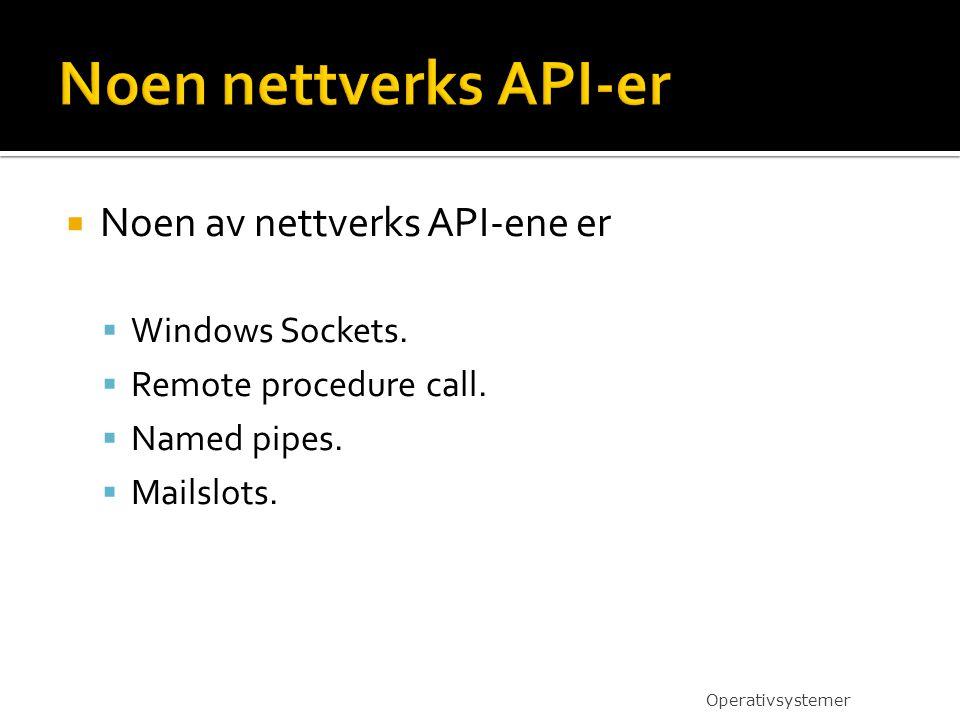 Noen nettverks API-er Noen av nettverks API-ene er Windows Sockets.