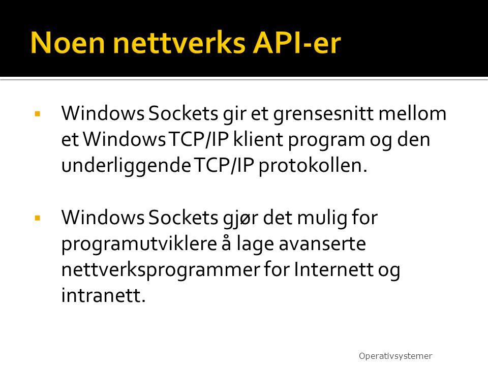 Noen nettverks API-er Windows Sockets gir et grensesnitt mellom et Windows TCP/IP klient program og den underliggende TCP/IP protokollen.