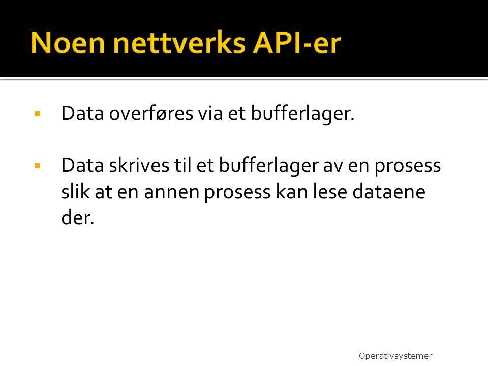 Noen nettverks API-er Data overføres via et bufferlager.