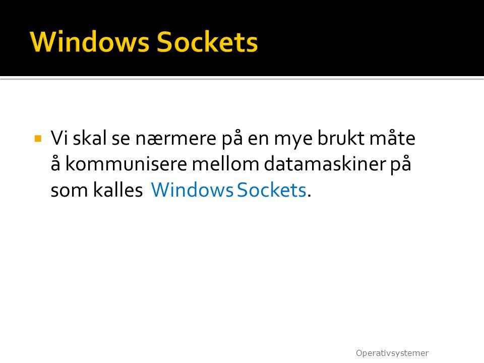 Windows Sockets Vi skal se nærmere på en mye brukt måte å kommunisere mellom datamaskiner på som kalles Windows Sockets.