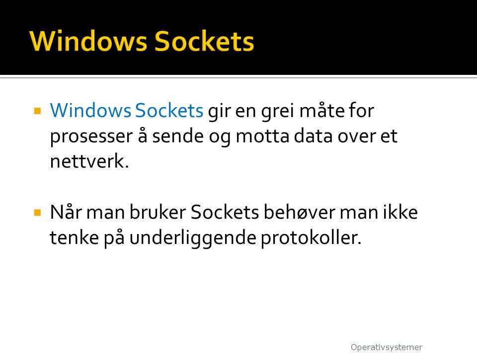 Windows Sockets Windows Sockets gir en grei måte for prosesser å sende og motta data over et nettverk.