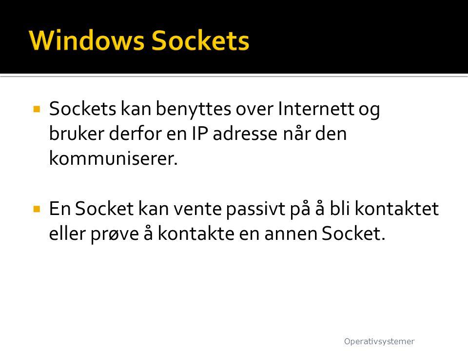 Windows Sockets Sockets kan benyttes over Internett og bruker derfor en IP adresse når den kommuniserer.