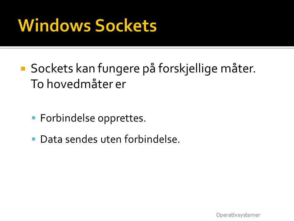 Windows Sockets Sockets kan fungere på forskjellige måter. To hovedmåter er. Forbindelse opprettes.