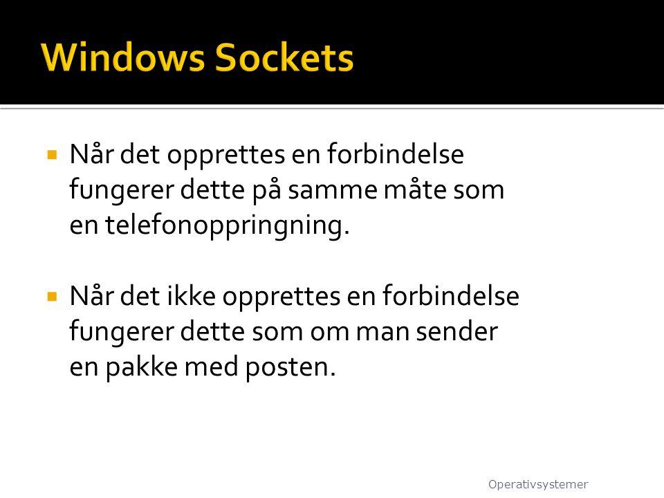 Windows Sockets Når det opprettes en forbindelse fungerer dette på samme måte som en telefonoppringning.