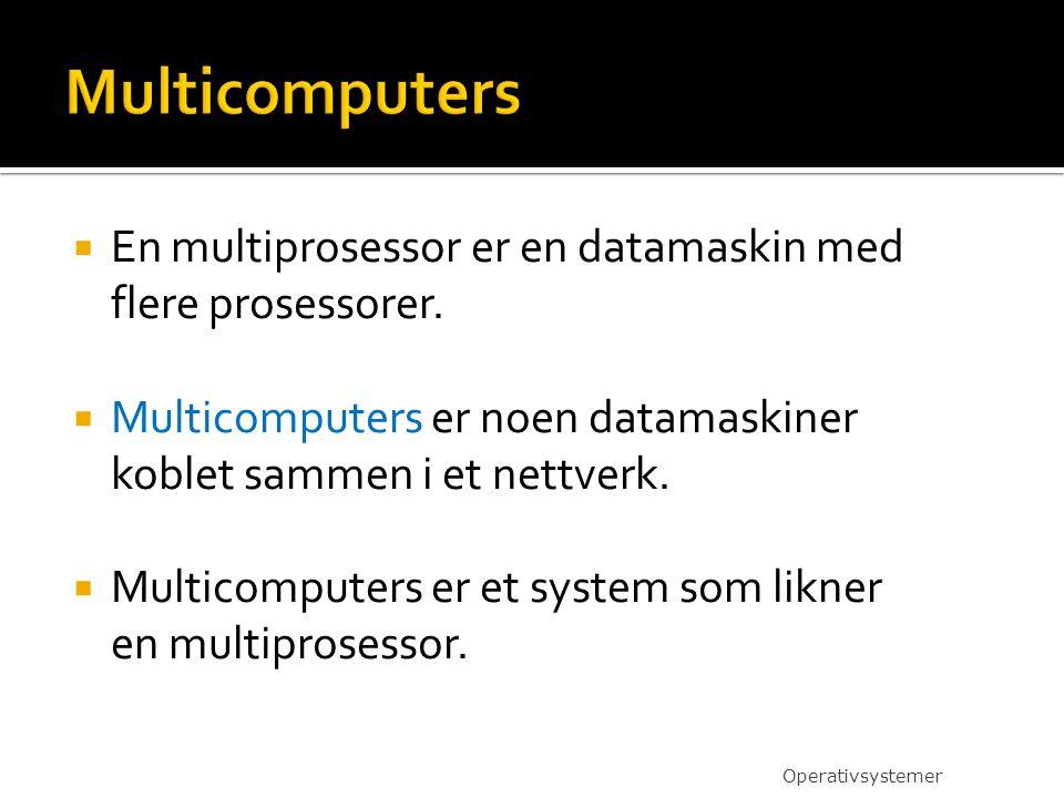 Multicomputers En multiprosessor er en datamaskin med flere prosessorer. Multicomputers er noen datamaskiner koblet sammen i et nettverk.