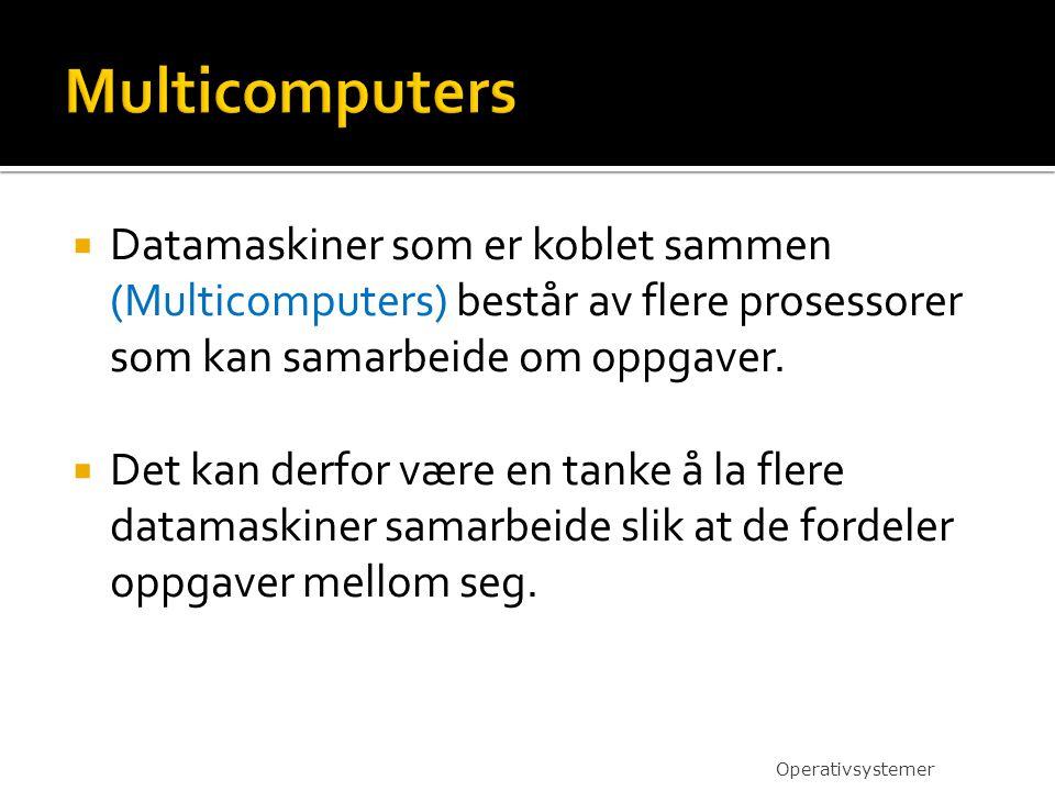 Multicomputers Datamaskiner som er koblet sammen (Multicomputers) består av flere prosessorer som kan samarbeide om oppgaver.
