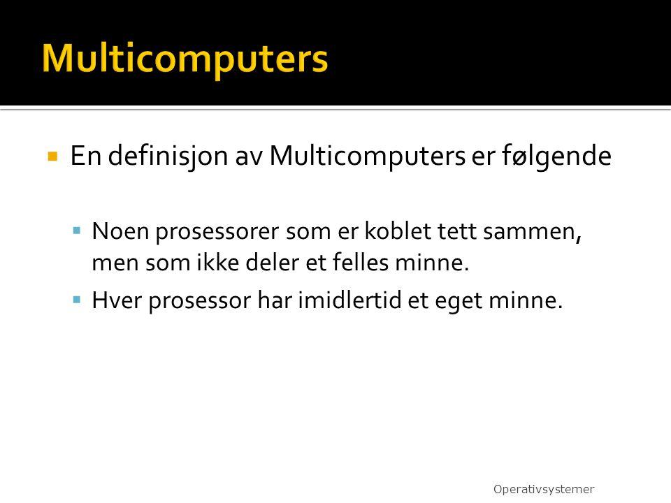 Multicomputers En definisjon av Multicomputers er følgende
