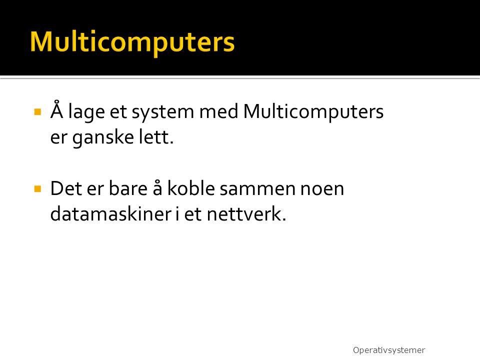 Multicomputers Å lage et system med Multicomputers er ganske lett.