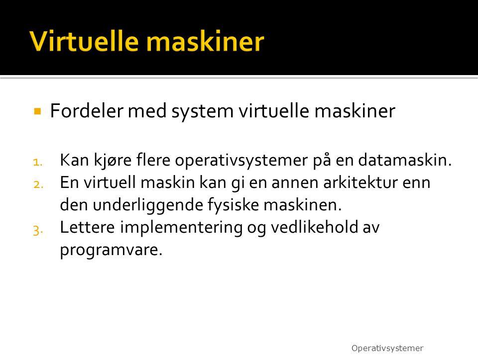 Virtuelle maskiner Fordeler med system virtuelle maskiner