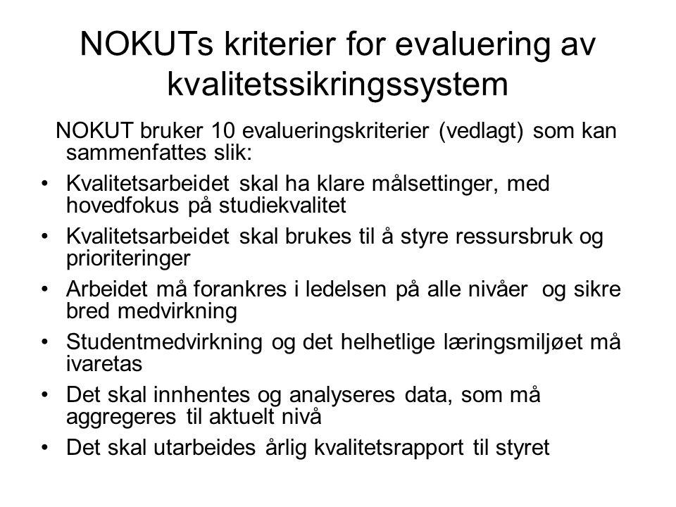 NOKUTs kriterier for evaluering av kvalitetssikringssystem