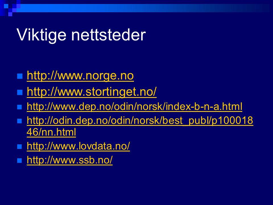 Viktige nettsteder http://www.norge.no http://www.stortinget.no/