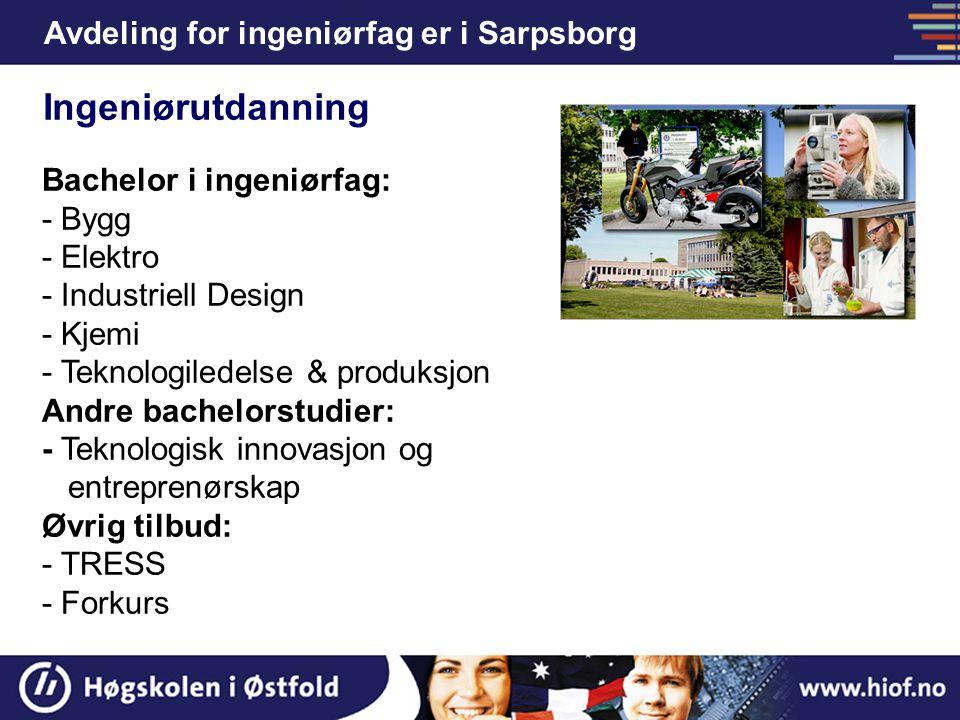 Ingeniørutdanning Avdeling for ingeniørfag er i Sarpsborg