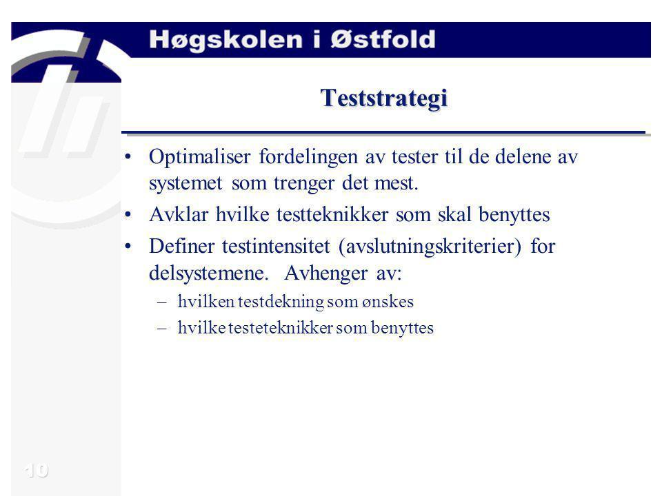 Teststrategi Optimaliser fordelingen av tester til de delene av systemet som trenger det mest. Avklar hvilke testteknikker som skal benyttes.