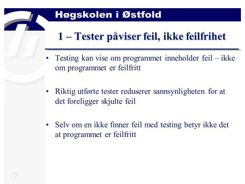 1 – Tester påviser feil, ikke feilfrihet