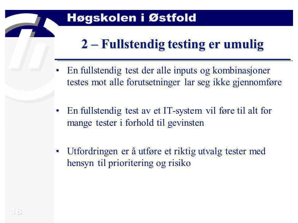 2 – Fullstendig testing er umulig