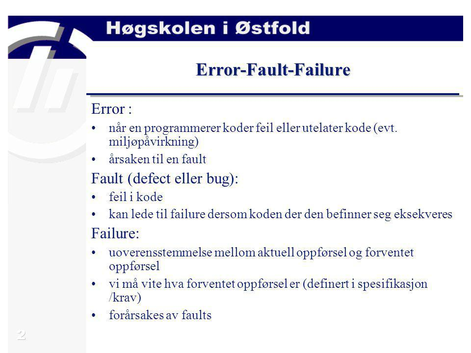 Error-Fault-Failure Error : Fault (defect eller bug): Failure: