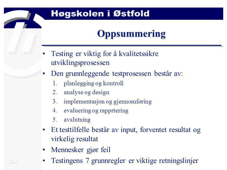 Oppsummering Testing er viktig for å kvalitetssikre utviklingsprosessen. Den grunnleggende testprosessen består av: