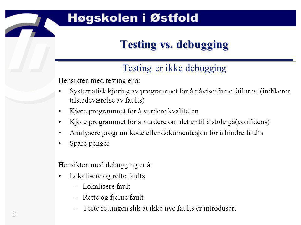 Testing er ikke debugging