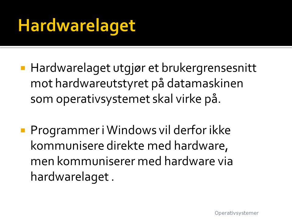 Hardwarelaget Hardwarelaget utgjør et brukergrensesnitt mot hardwareutstyret på datamaskinen som operativsystemet skal virke på.