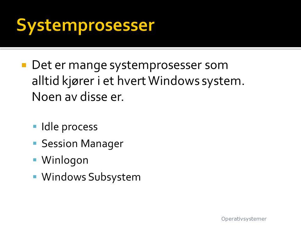 Systemprosesser Det er mange systemprosesser som alltid kjører i et hvert Windows system. Noen av disse er.