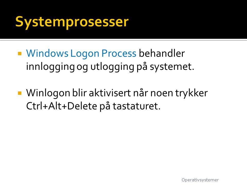 Systemprosesser Windows Logon Process behandler innlogging og utlogging på systemet.