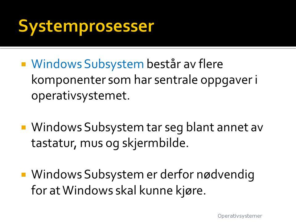 Systemprosesser Windows Subsystem består av flere komponenter som har sentrale oppgaver i operativsystemet.