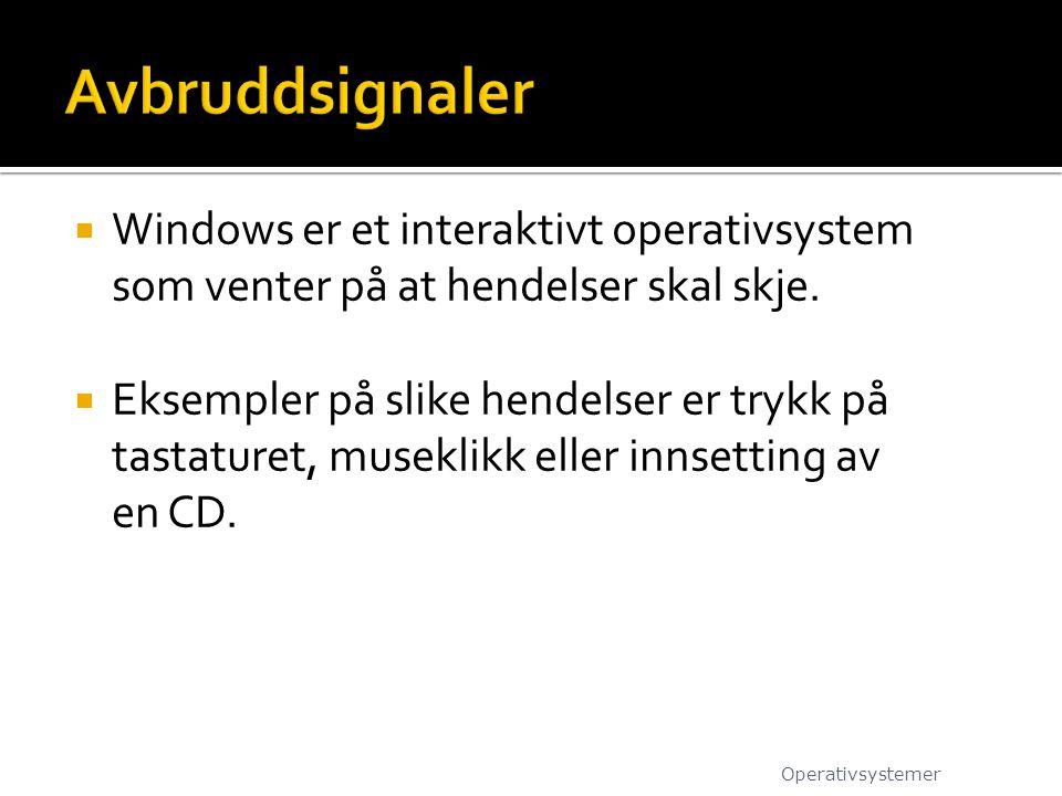 Avbruddsignaler Windows er et interaktivt operativsystem som venter på at hendelser skal skje.