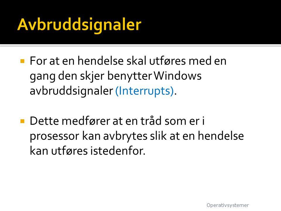 Avbruddsignaler For at en hendelse skal utføres med en gang den skjer benytter Windows avbruddsignaler (Interrupts).
