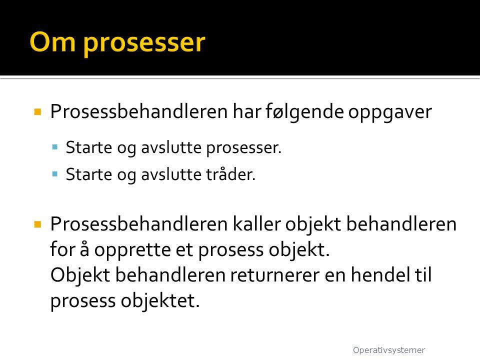 Om prosesser Prosessbehandleren har følgende oppgaver