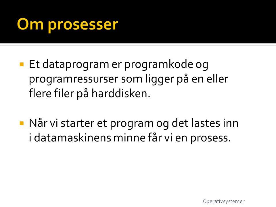 Om prosesser Et dataprogram er programkode og programressurser som ligger på en eller flere filer på harddisken.