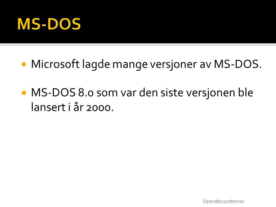MS-DOS Microsoft lagde mange versjoner av MS-DOS.