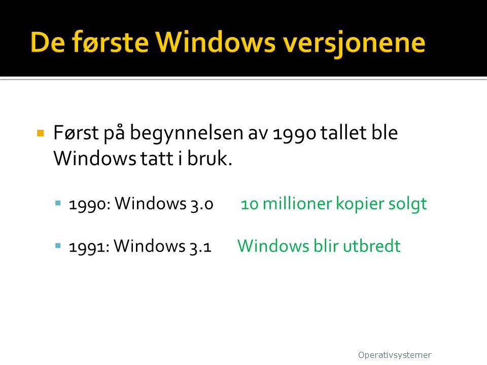 De første Windows versjonene