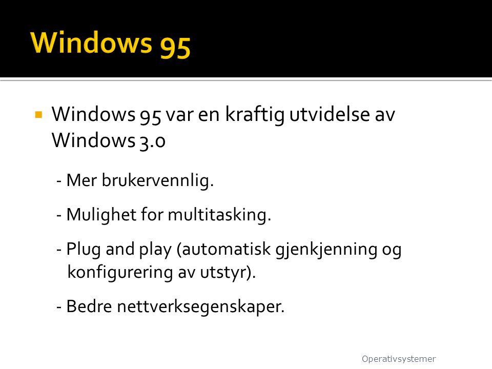 Windows 95 Windows 95 var en kraftig utvidelse av Windows 3.0