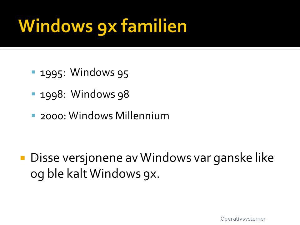 Windows 9x familien 1995: Windows 95. 1998: Windows 98. 2000: Windows Millennium.