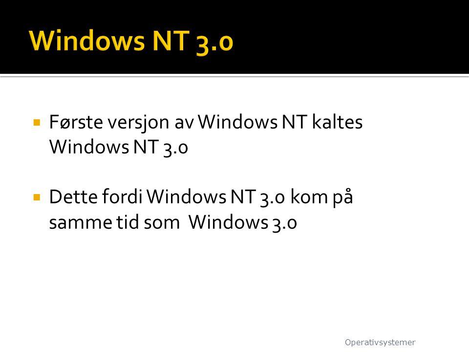 Windows NT 3.0 Første versjon av Windows NT kaltes Windows NT 3.0