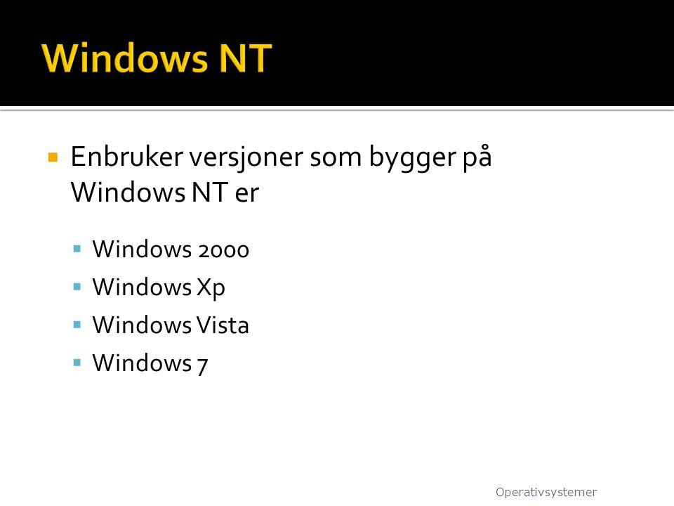 Windows NT Enbruker versjoner som bygger på Windows NT er Windows 2000