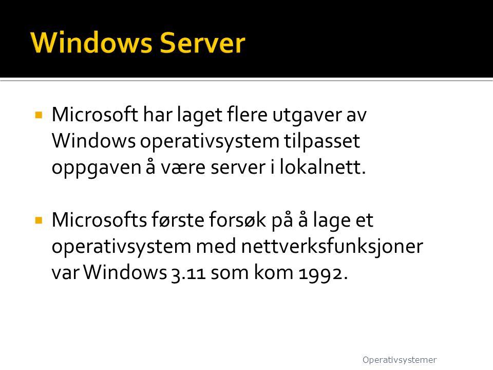 Windows Server Microsoft har laget flere utgaver av Windows operativsystem tilpasset oppgaven å være server i lokalnett.