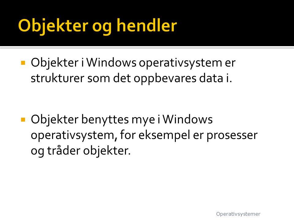 Objekter og hendler Objekter i Windows operativsystem er strukturer som det oppbevares data i.