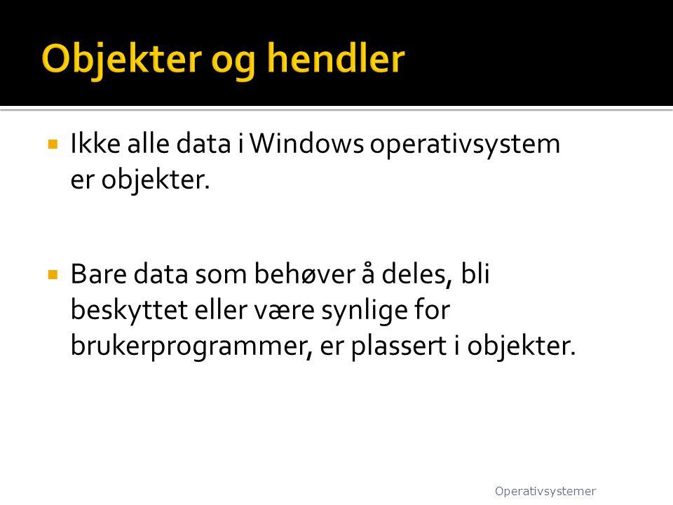 Objekter og hendler Ikke alle data i Windows operativsystem er objekter.