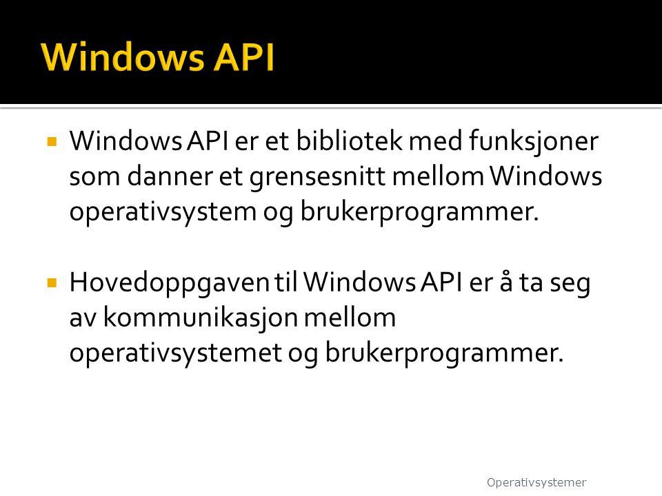 Windows API Windows API er et bibliotek med funksjoner som danner et grensesnitt mellom Windows operativsystem og brukerprogrammer.