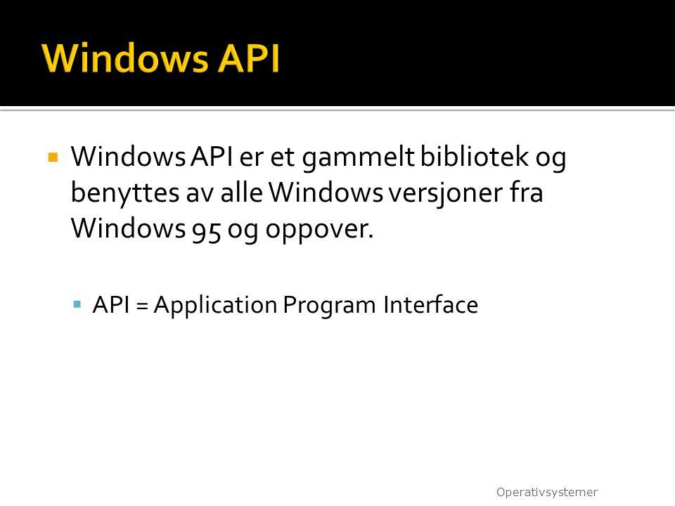 Windows API Windows API er et gammelt bibliotek og benyttes av alle Windows versjoner fra Windows 95 og oppover.