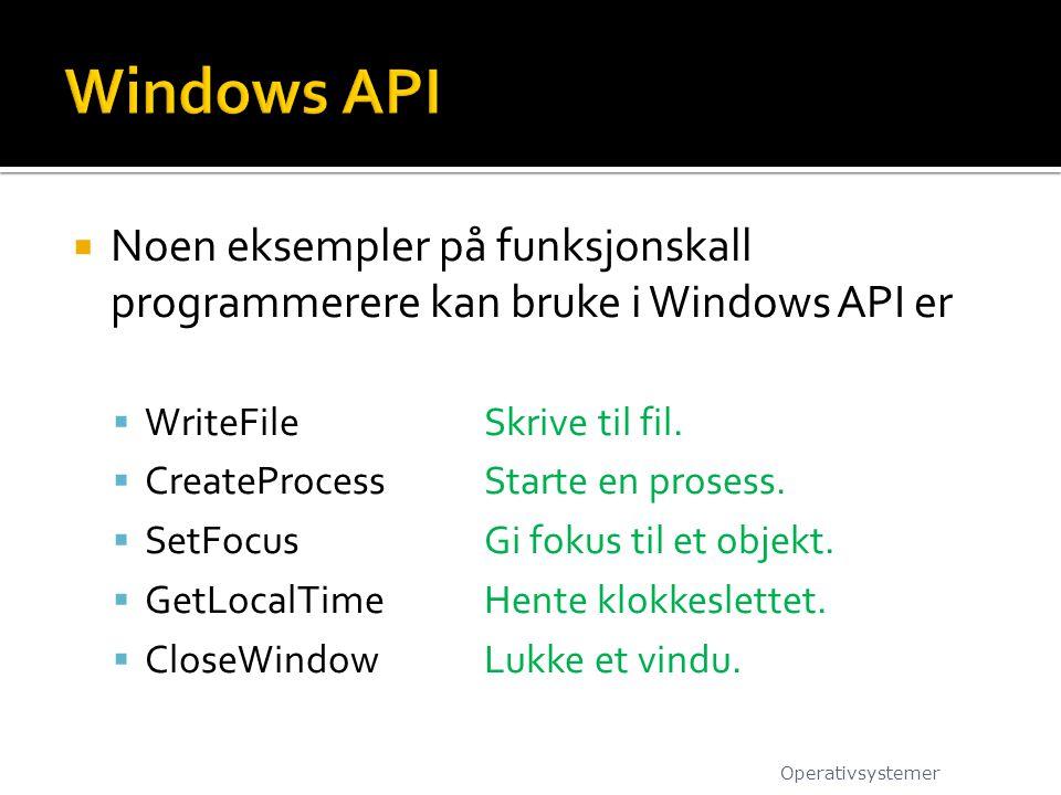 Windows API Noen eksempler på funksjonskall programmerere kan bruke i Windows API er. WriteFile Skrive til fil.