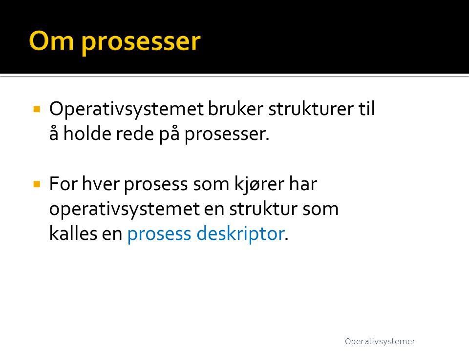 Om prosesser Operativsystemet bruker strukturer til å holde rede på prosesser.