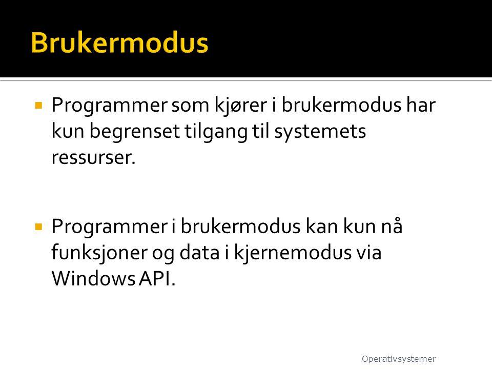 Brukermodus Programmer som kjører i brukermodus har kun begrenset tilgang til systemets ressurser.